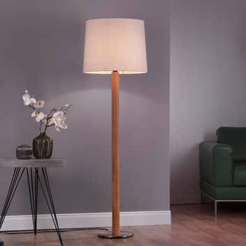 Lucande Elif vloerlamp wit, cilinder eiken natuur