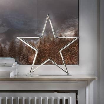 Tähtikoristevalaisin Lucy, kromi, korkeus 50 cm