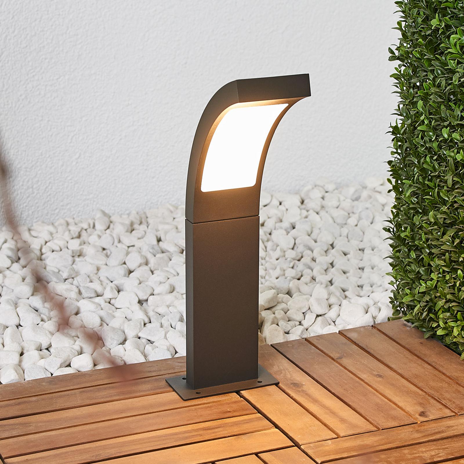 Moderne LED-Sockelleuchte Juvia in Grafitgrau
