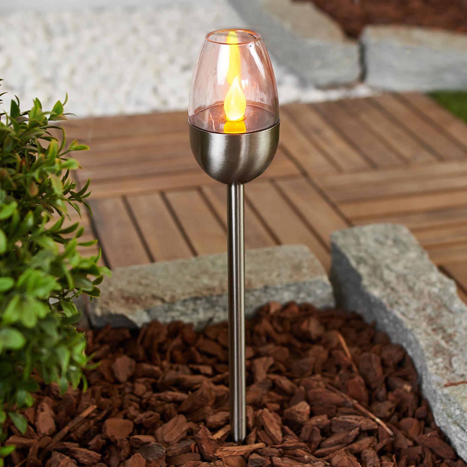 Flot LED solcellelampe Lugin, rustfrit stål 3 stk.