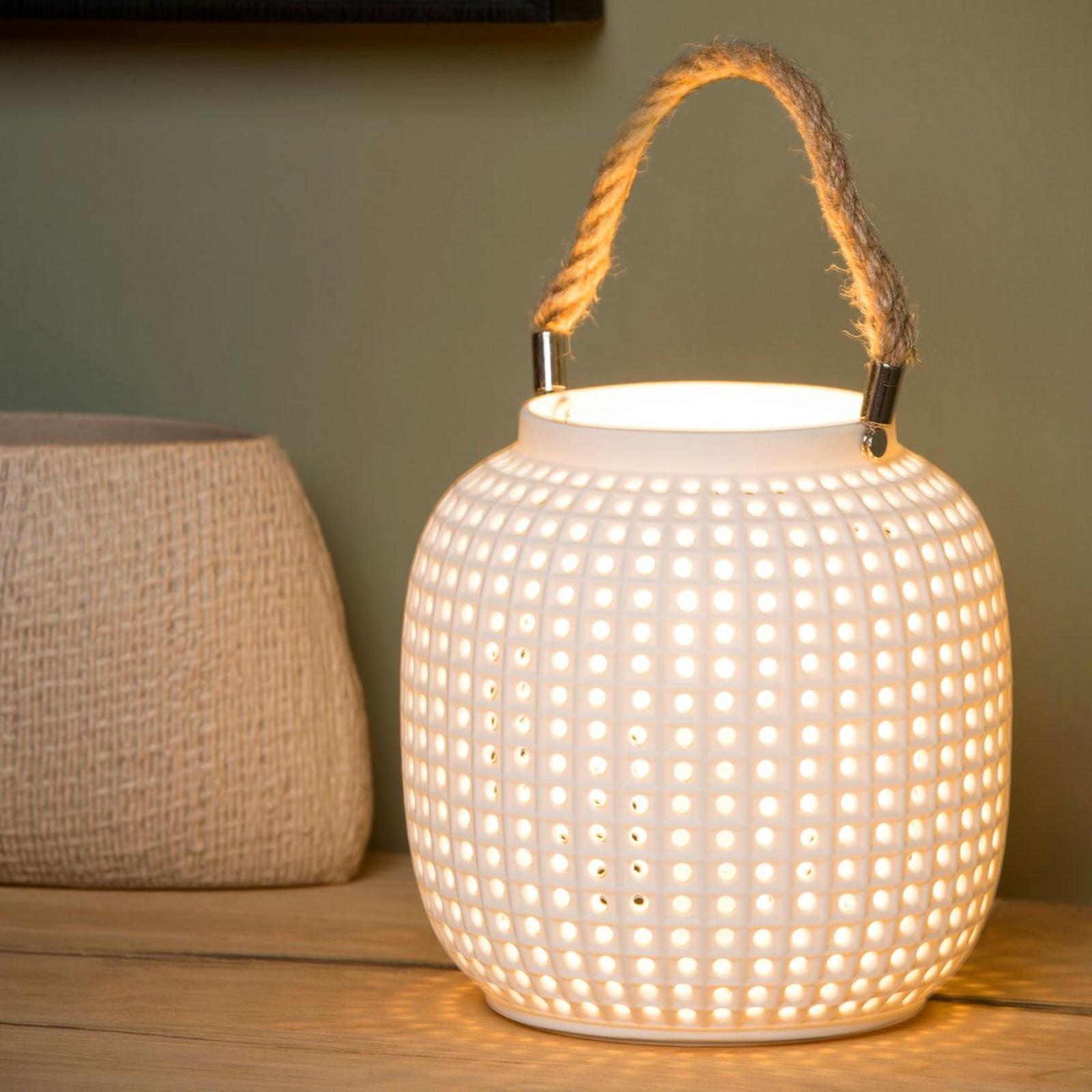 Bordslampa Safiya av porslin, vit
