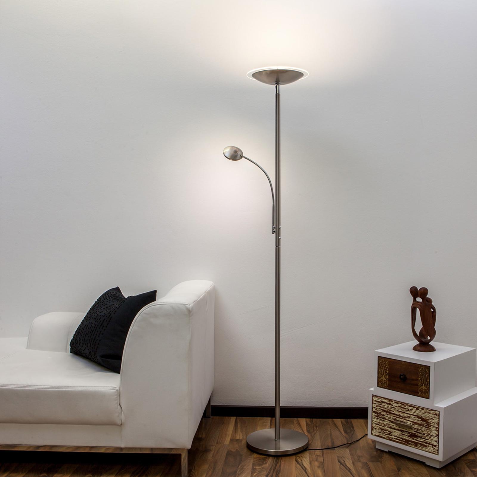 Lampada da terra LED Malea braccio lettura, nichel