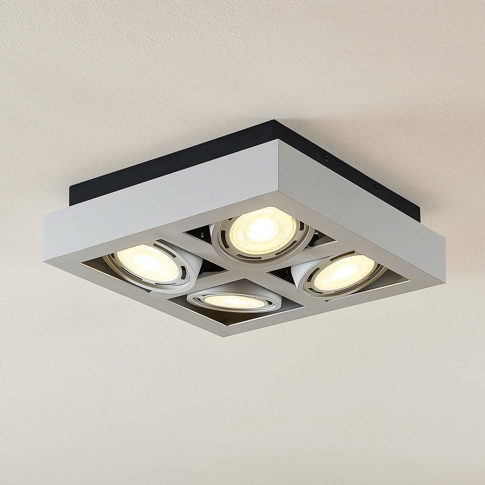 LED loftspot Ronka, 4 lyskilder, kvadratisk, hvid