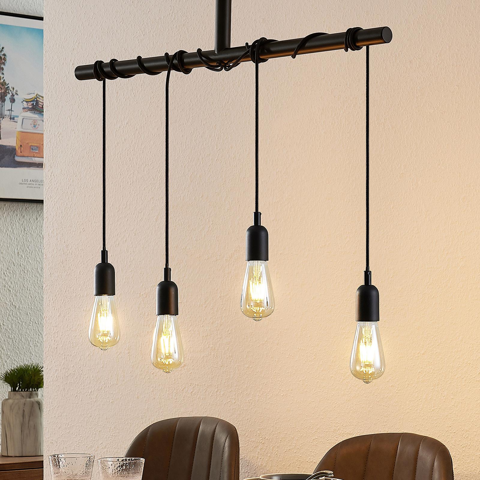 Lindby Kravos hänglampa 4 lampor, svart
