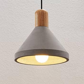 Betonowa lampa wisząca Caisy z drewnem, okrągła