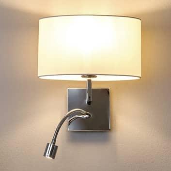 Bílé nástěnné světlo Karla s LED lampou na čtení