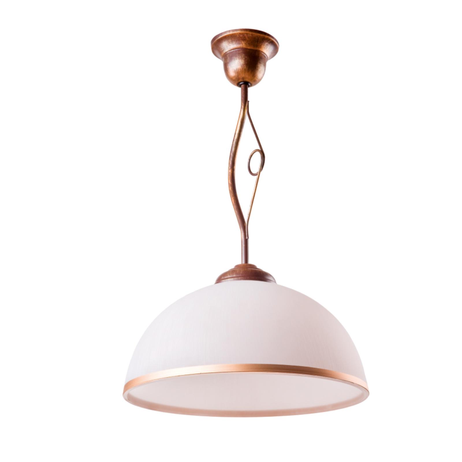 Roma hængelampe i hvid og brun, 1 lyskilde