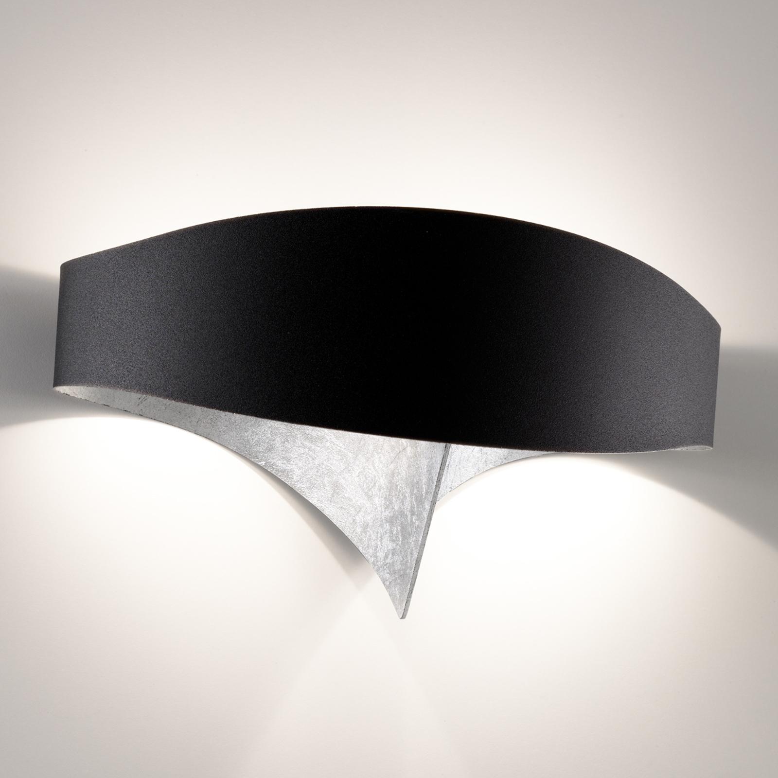 LED-vägglampa Scudo med bladsilver