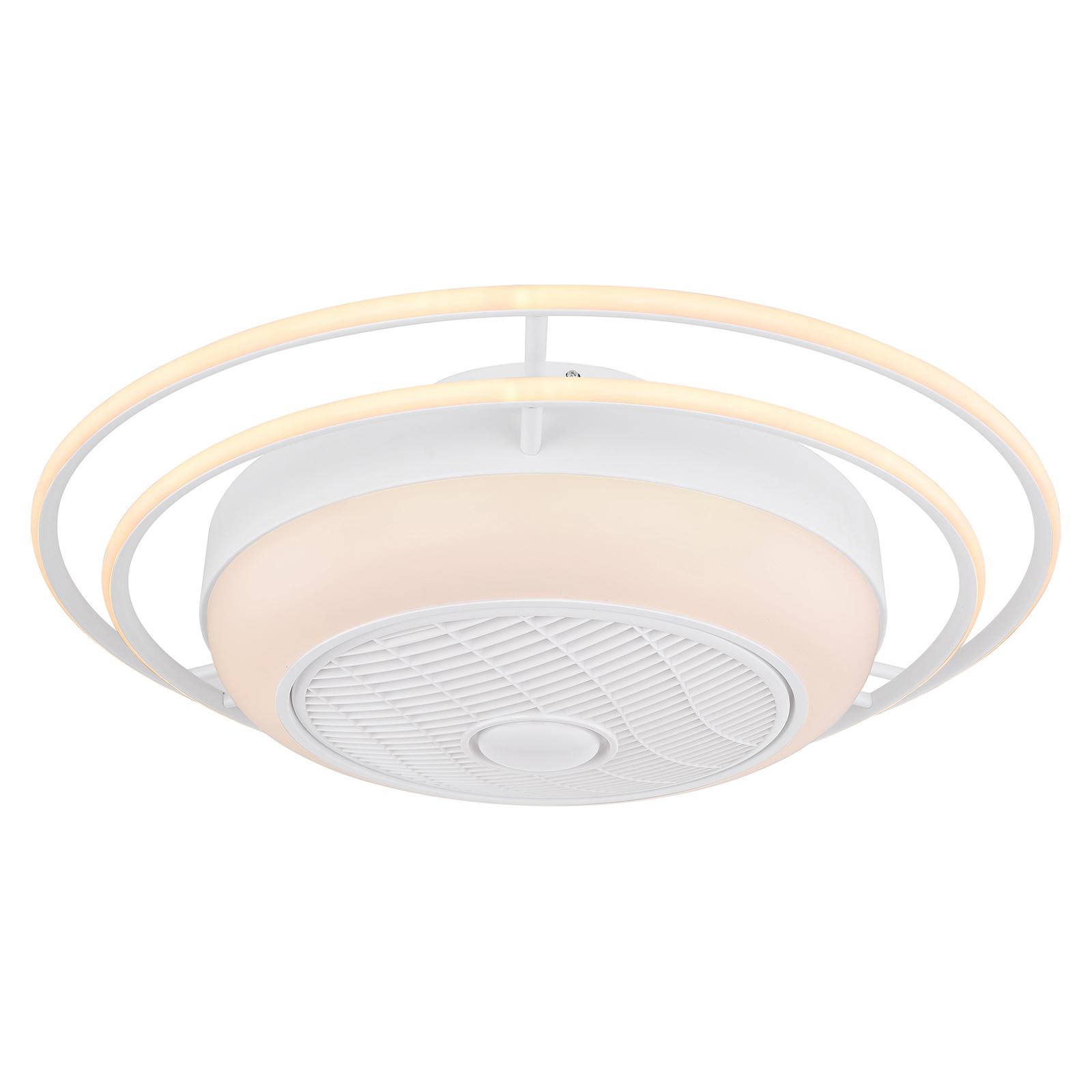 LED-Deckenventilator Romario Ø 76cm drei Ringe CCT