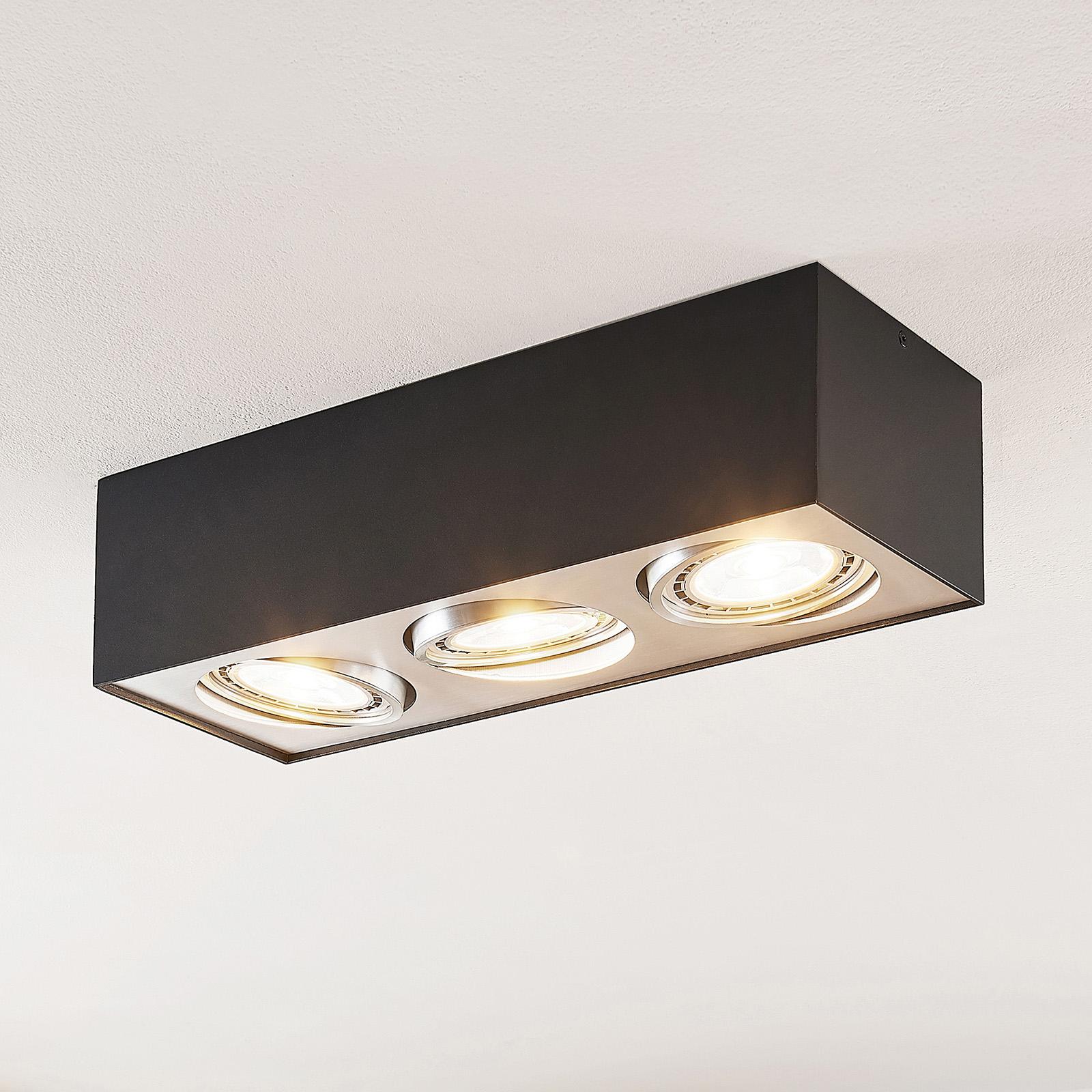 Arcchio Dwight plafonnier LED en noir, 3 lampes