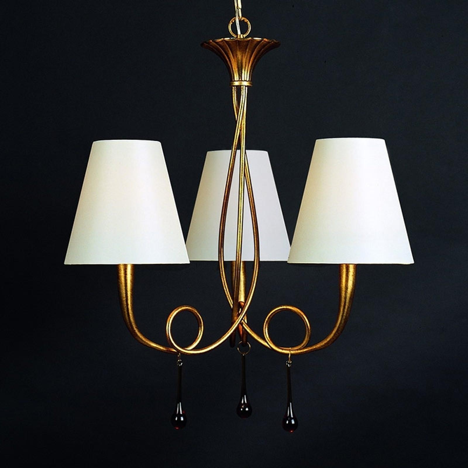 Wandlamp Paola m 3 lampjes goud m textiel lampenk