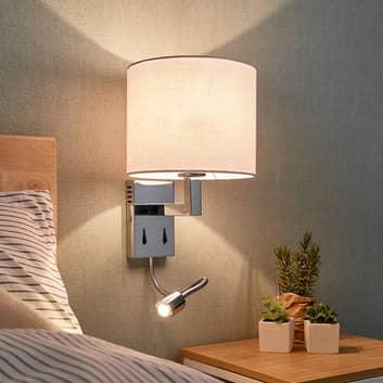 Textilní nástěnné světlo Taron s lampou na čtení