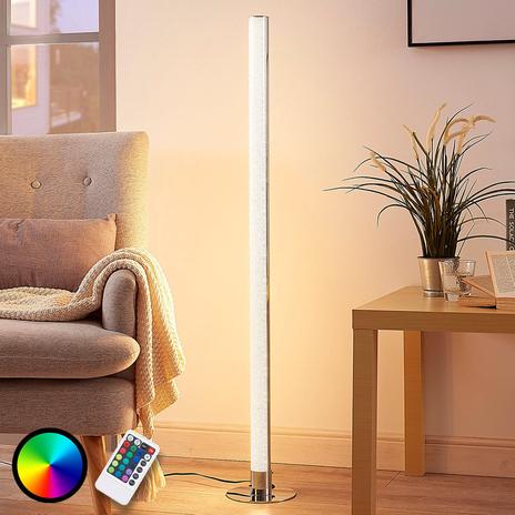 Podłużna lampa stojąca LED RGB Hadis, ściemniana