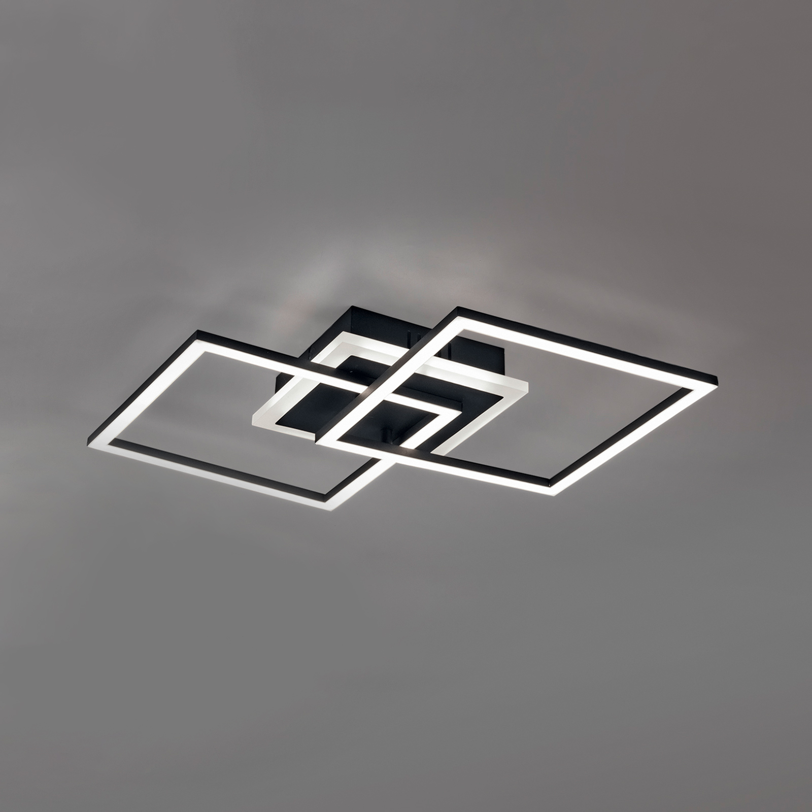 LED plafondlamp Venida, zwart, twee vierkanten