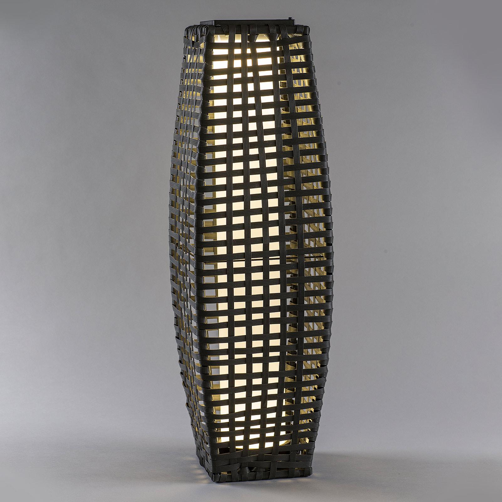 LED-Solarleuchte Säule Rattan, bauchig, dunkelgrau