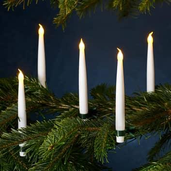Set van 10 kabelloze kerstboomkaarsen Carolin