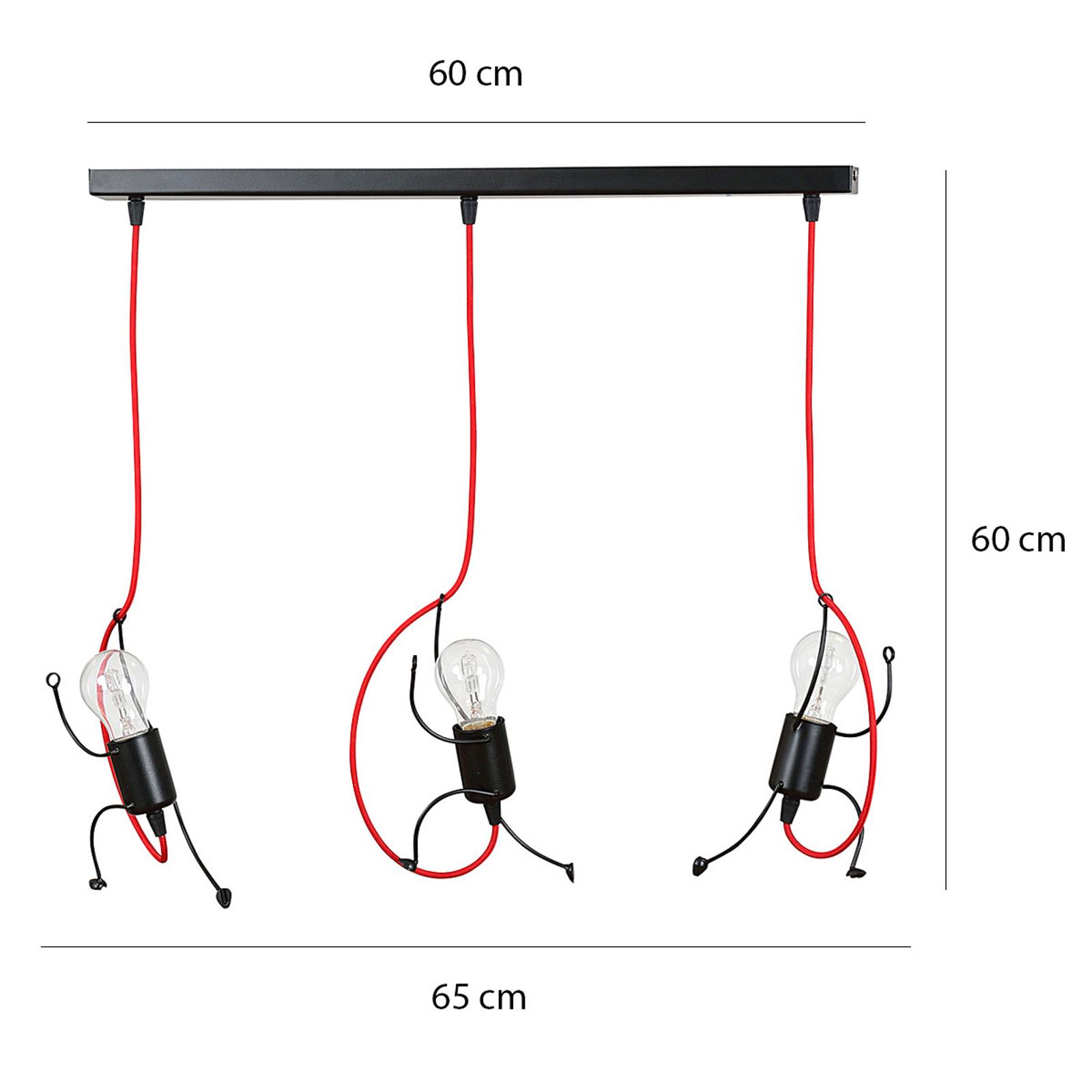 Hanglamp Bobi 3 in zwart, kabel rood, 3-lamps