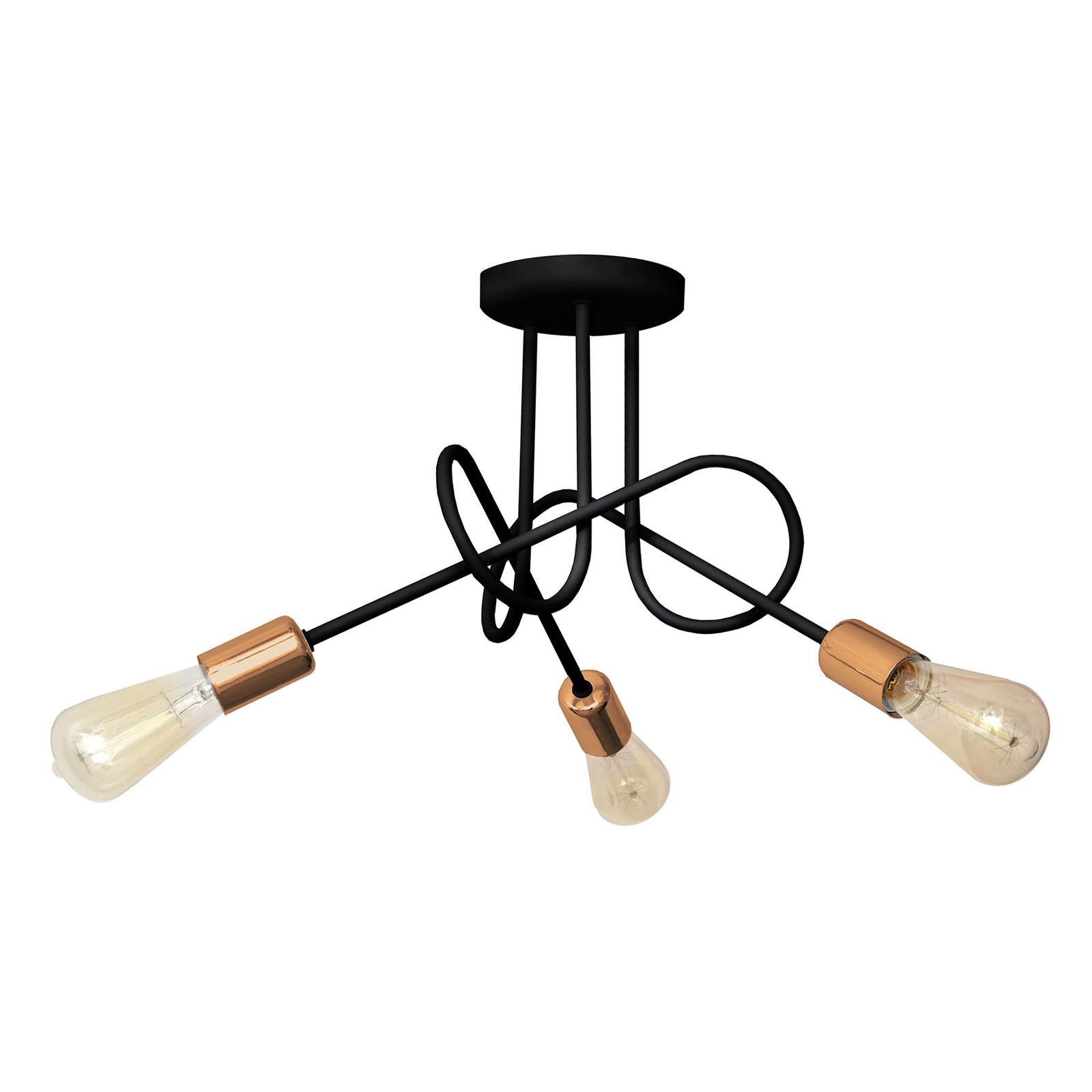 Deckenlampe Oxford dreiflammig schwarz/kupfer