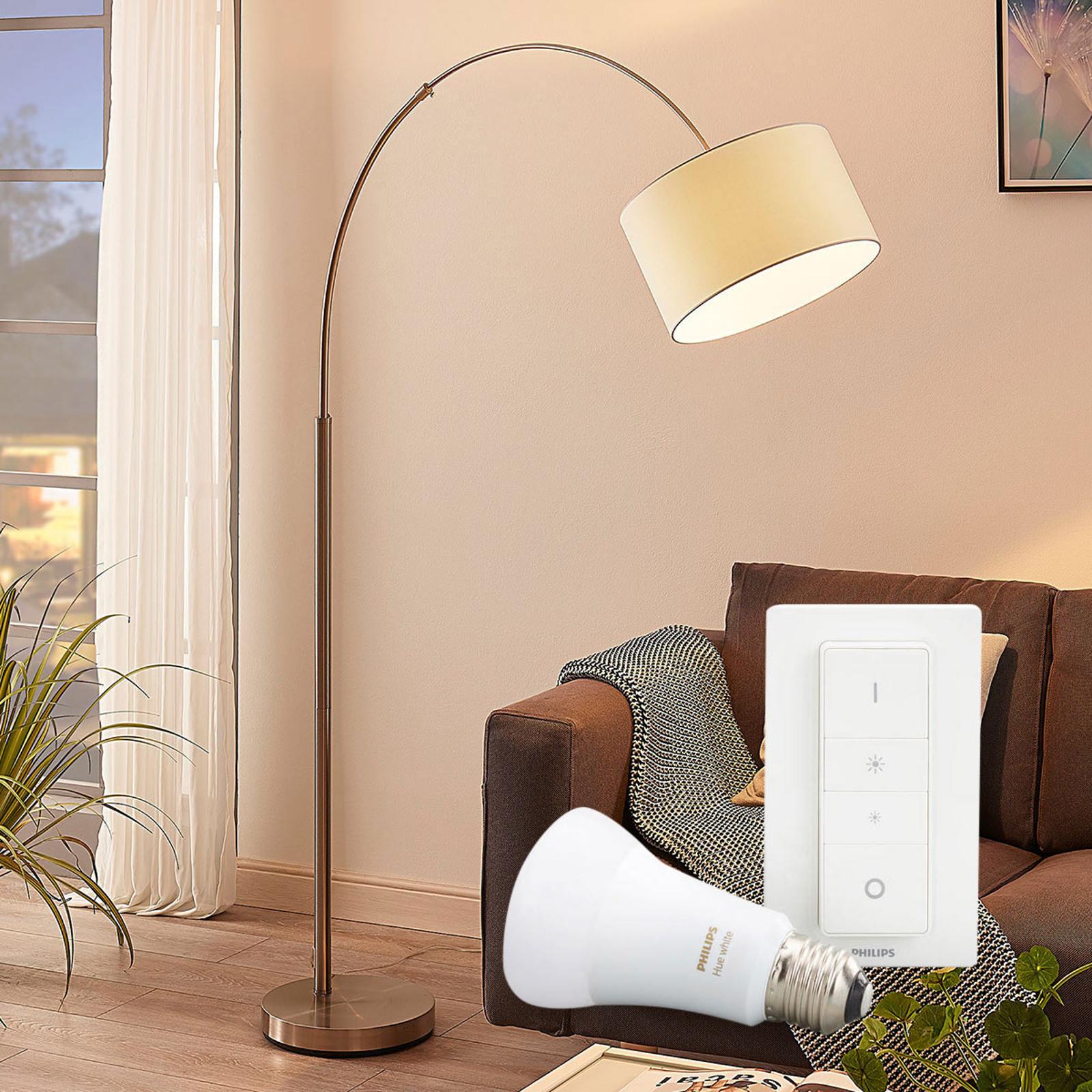 Golvlampa Railyn med Philips Hue E27 och dimmer