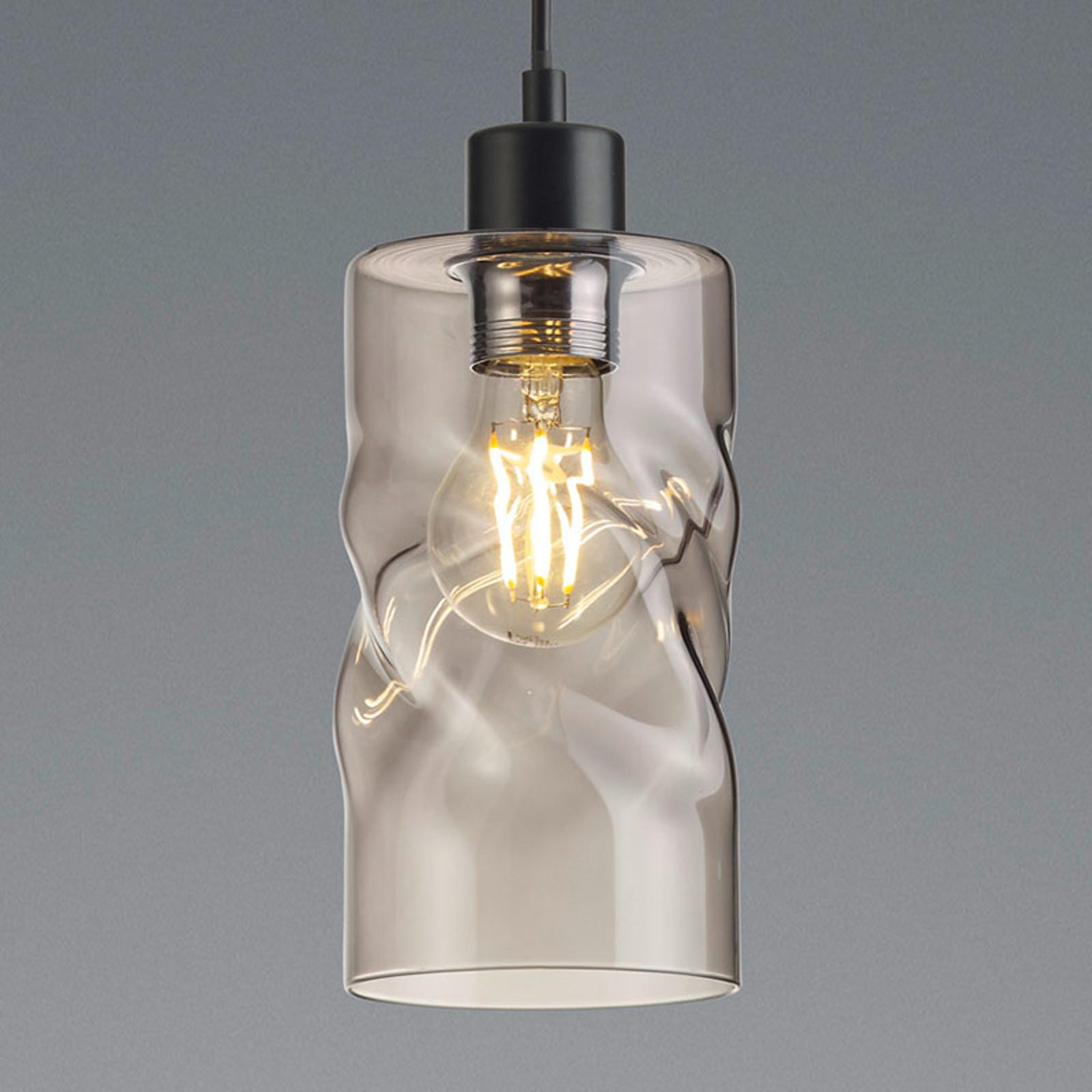 Lampa wisząca Swirl ze szkła, 1-pkt., szary dymny