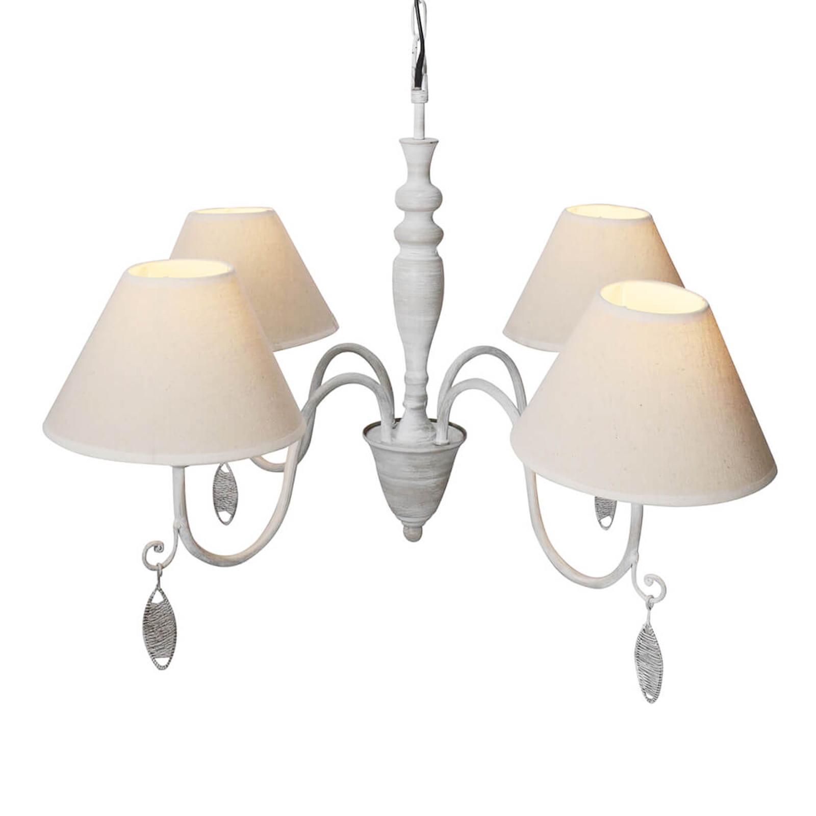 4-punktowa lampa wisząca Merle – tekstylne klosze