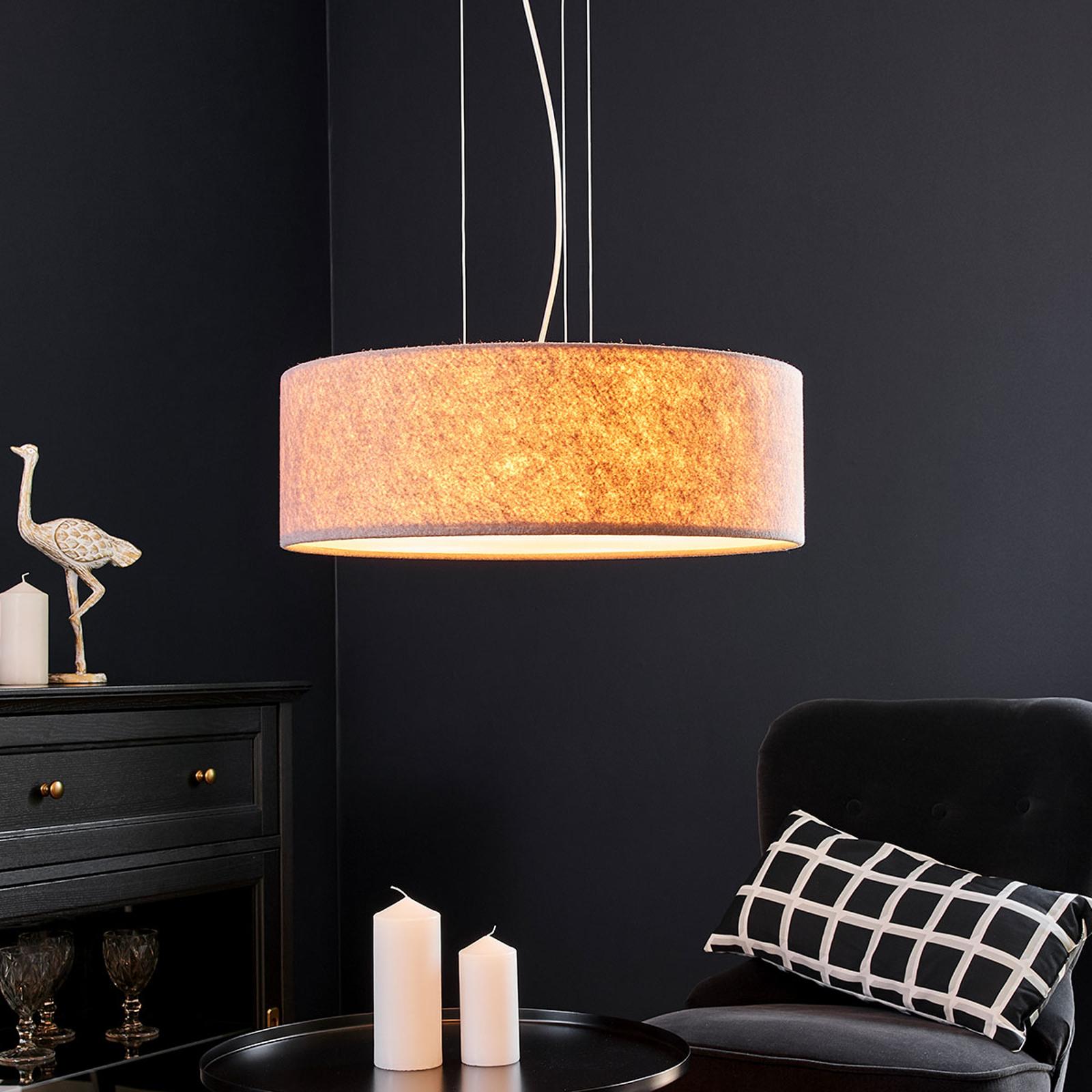 Lampa wisząca Gala, 50cm, filcowy brązowy beż