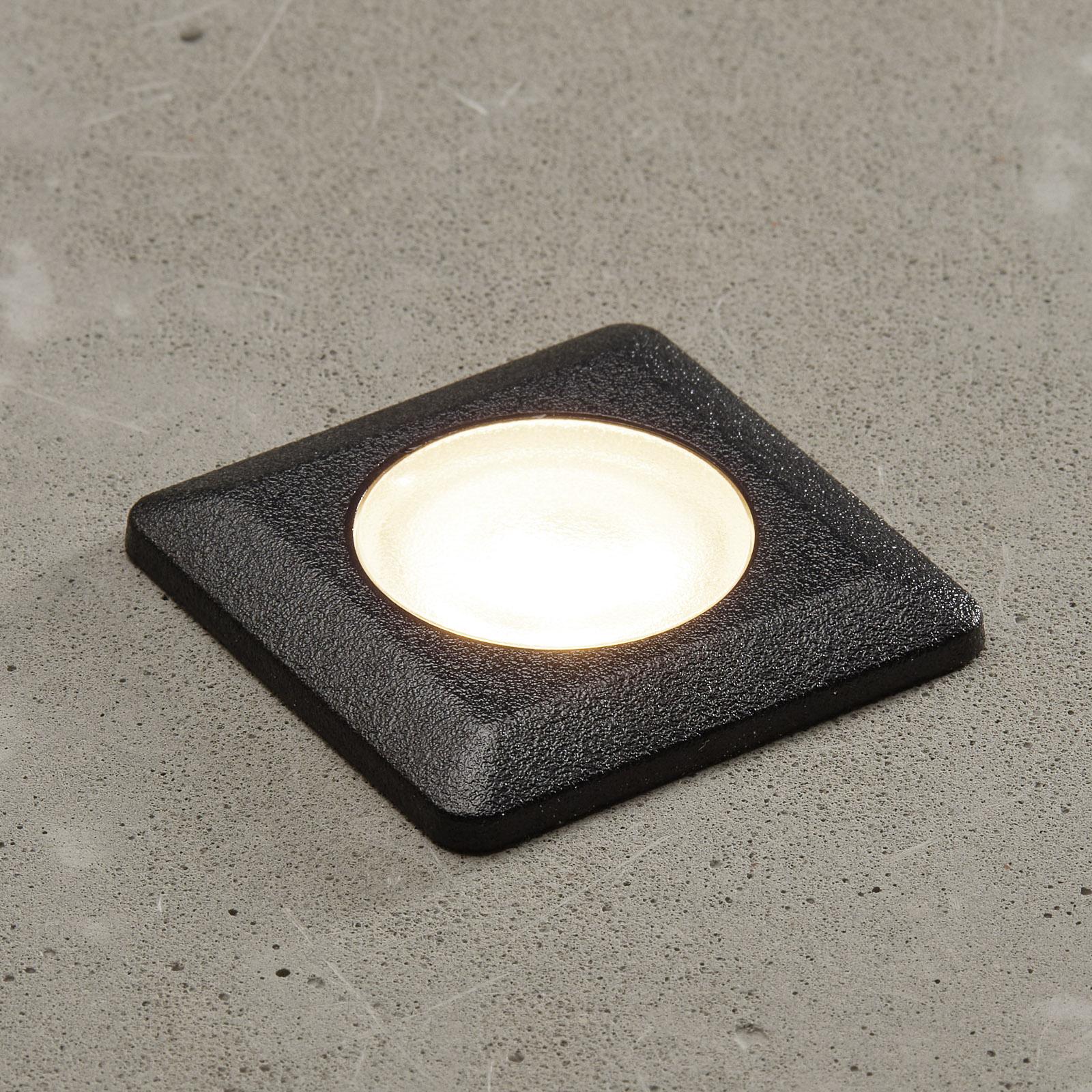 Aldo LED indbygningslampe kantet sort/klar 3.000 K