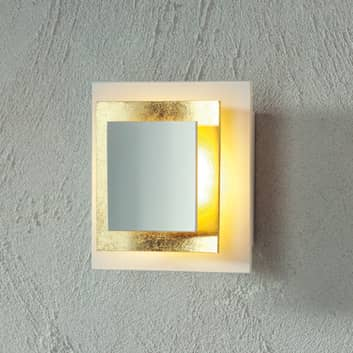Bladvergulde wandlamp Pages, 14 cm