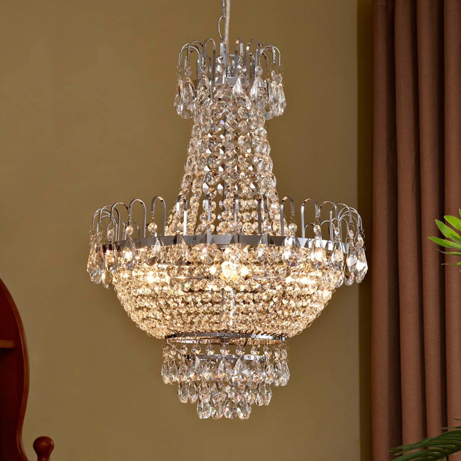 Chromowana kryształowa lampa wisząca CASPARIA