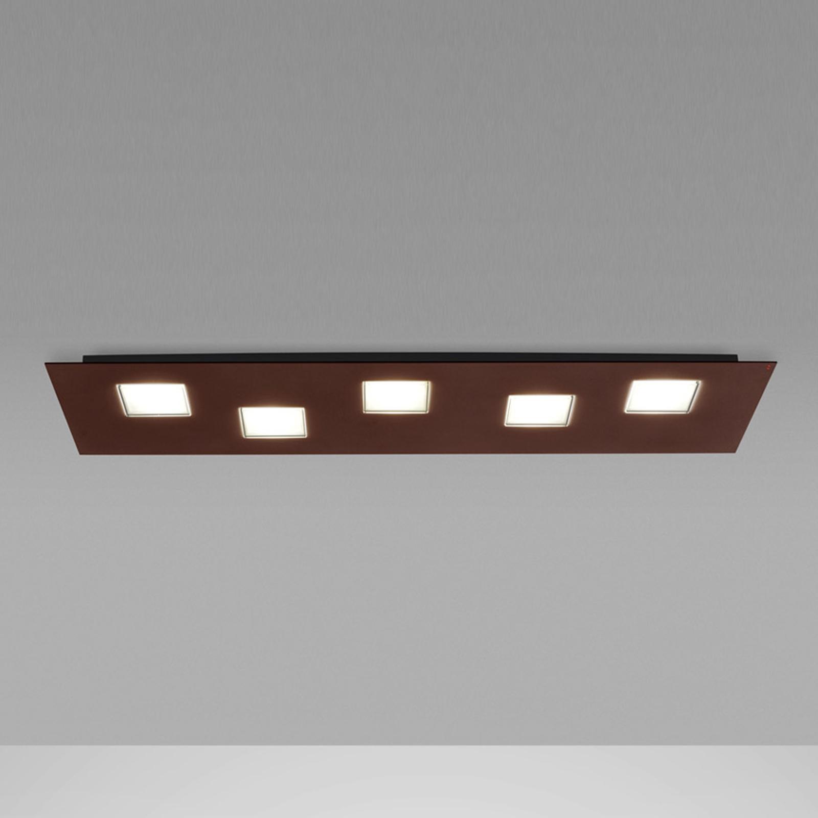 Fabbian Quarter hnedé stropné LED svetlo 5-pl.