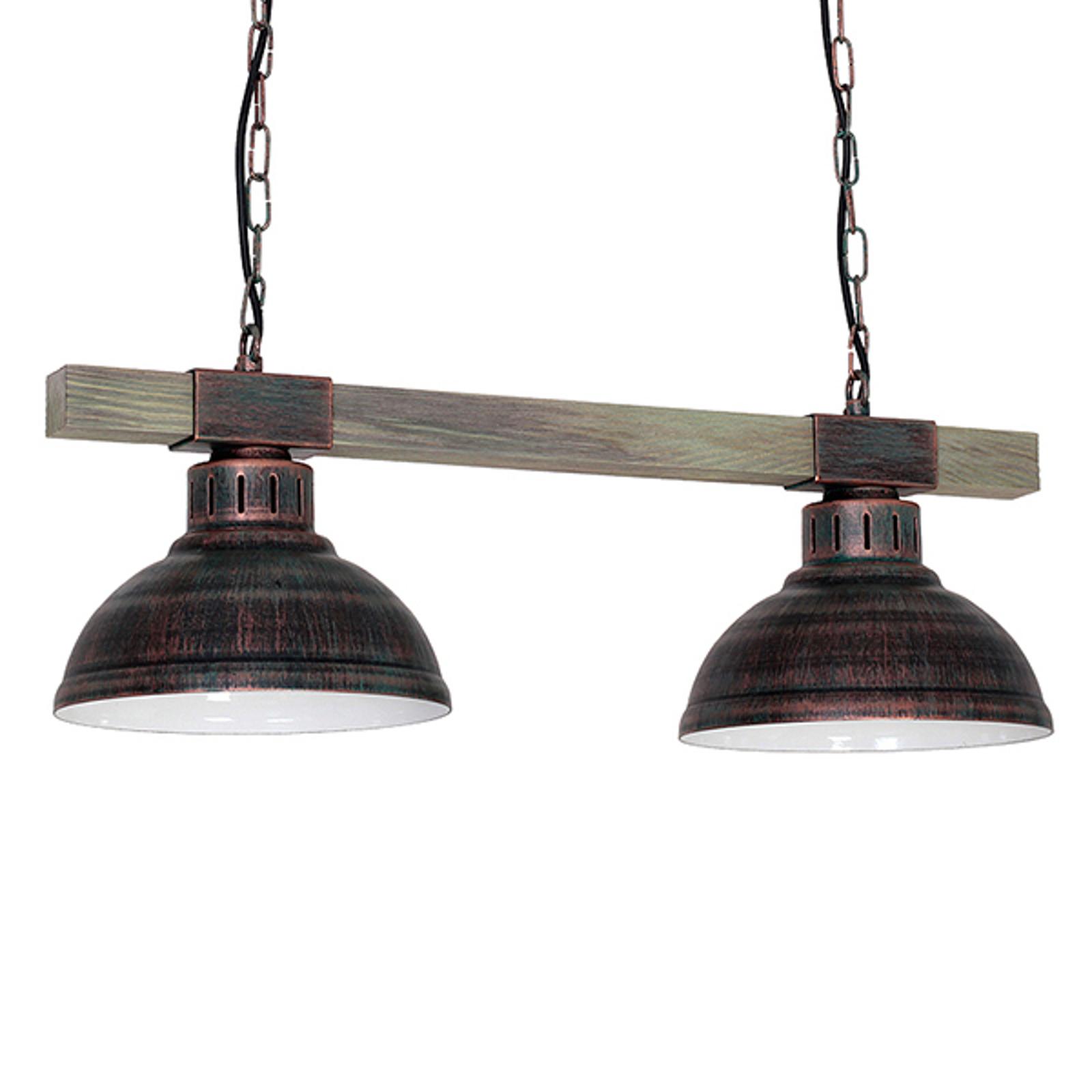Lampa wisząca Hakon 2-pkt. rdzawy brąz/drewno