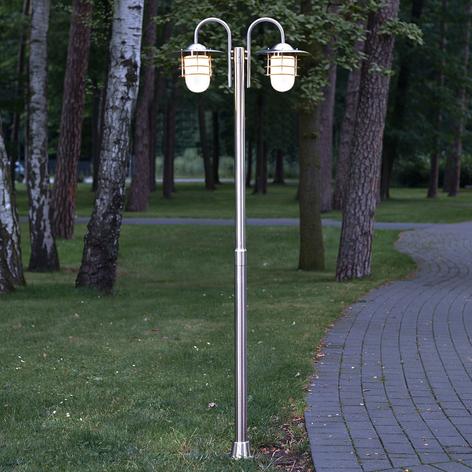 2-lichts lantaarnpaal Mian van roestvrij staal