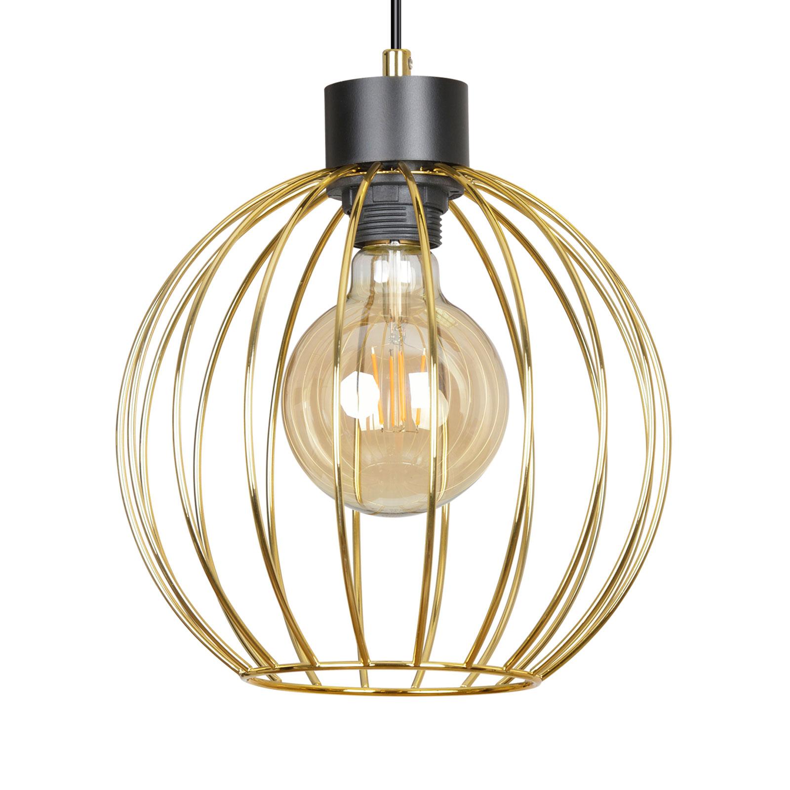 Hanglamp Pineta 1 in zwart, kap goud