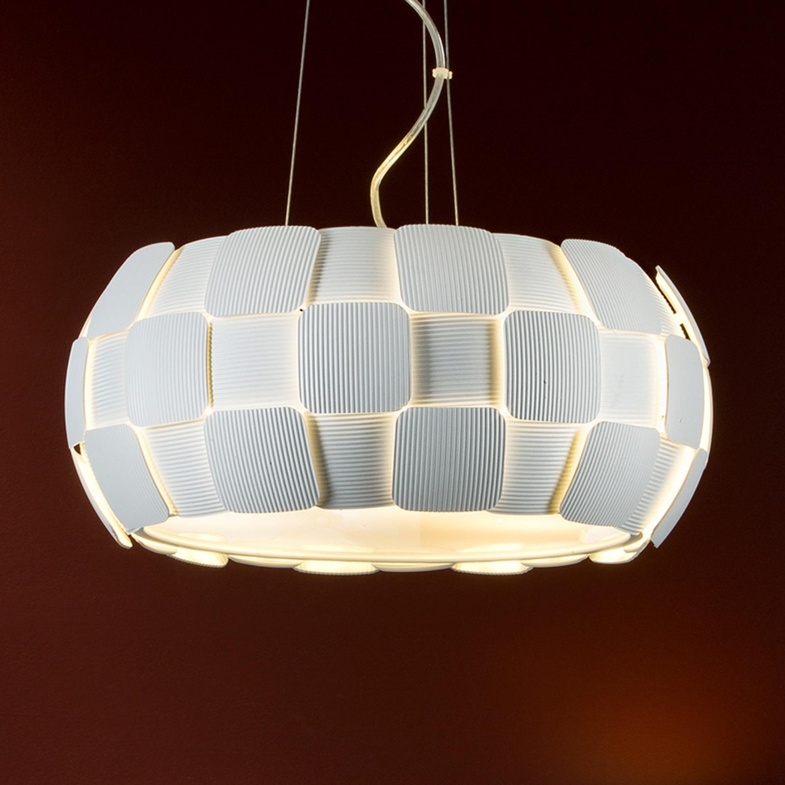 Witte hanglamp Quios met grote kap