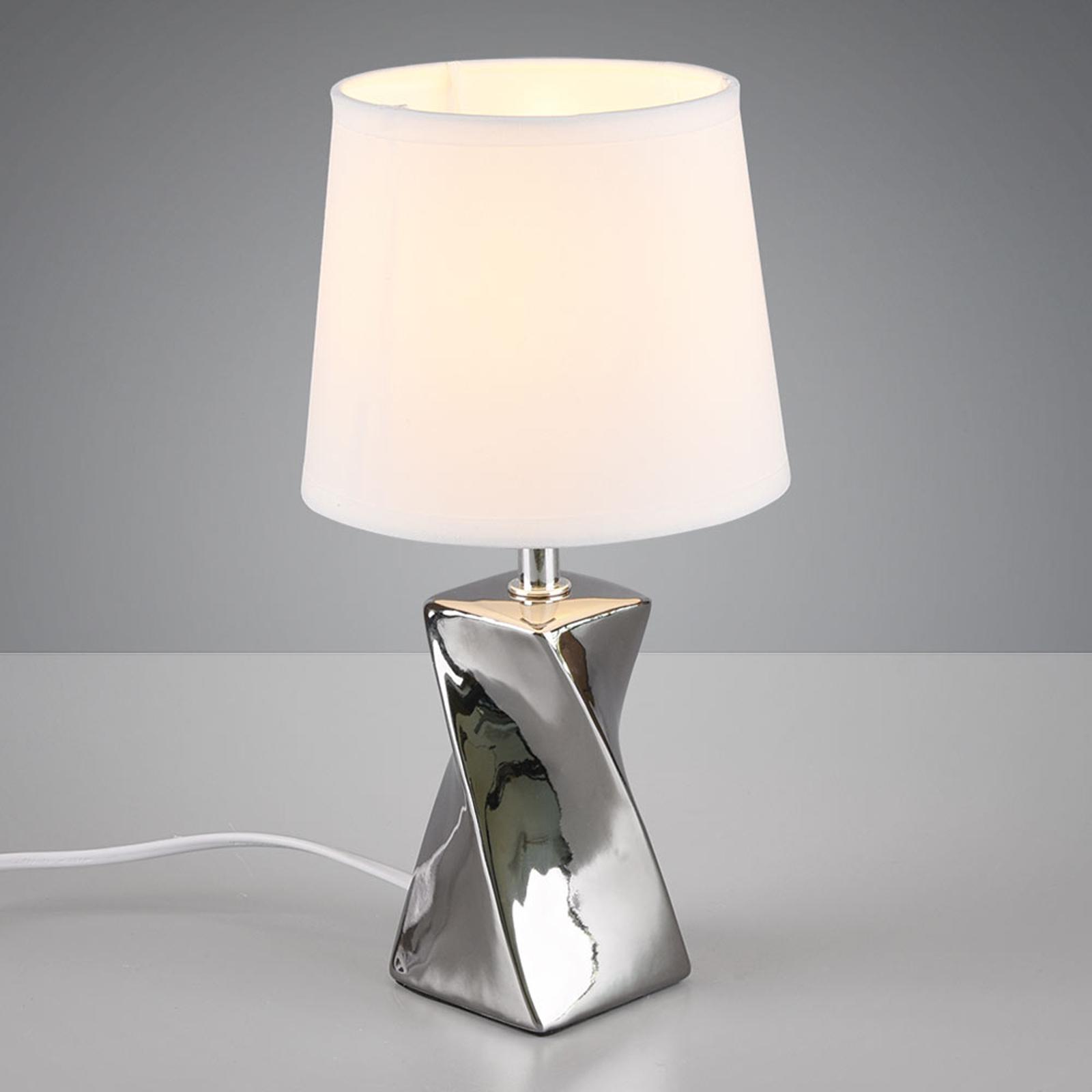 Tafellamp Abeba, Ø 15 cm, wit-zilver