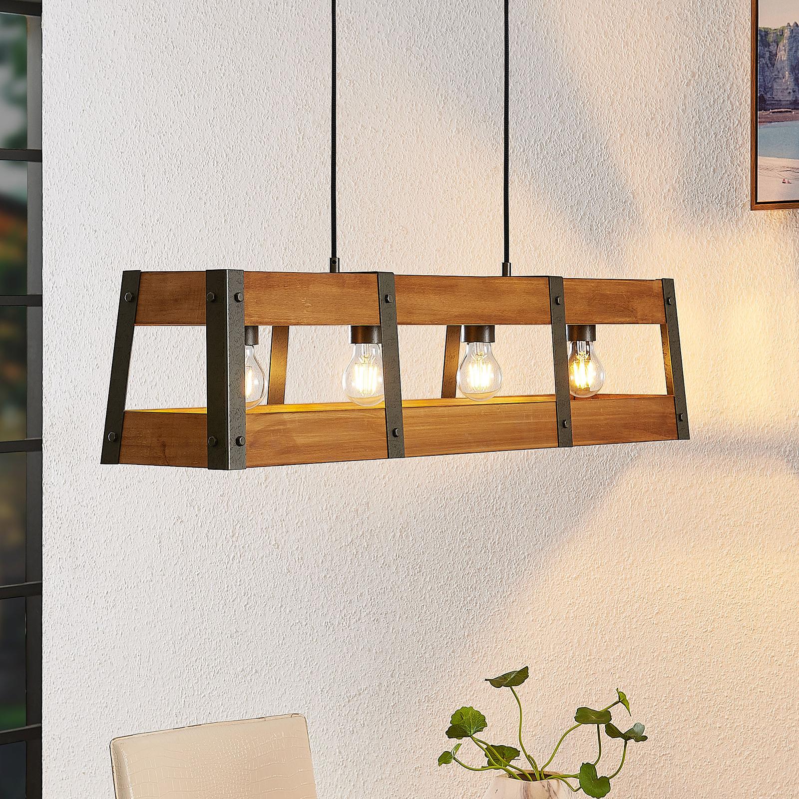 Lindby Gudula hængelampe med træskærm