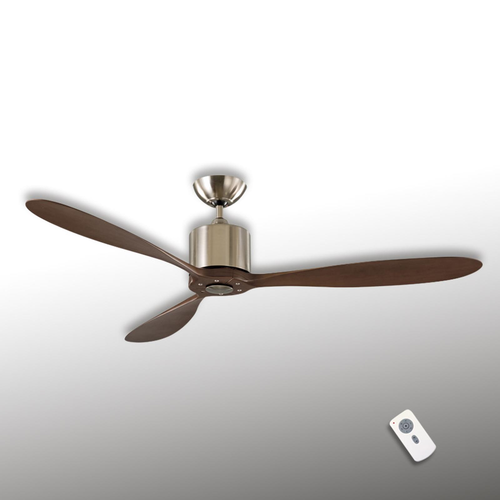 Aeroplan Eco loftventilator, krom, nøddetræ