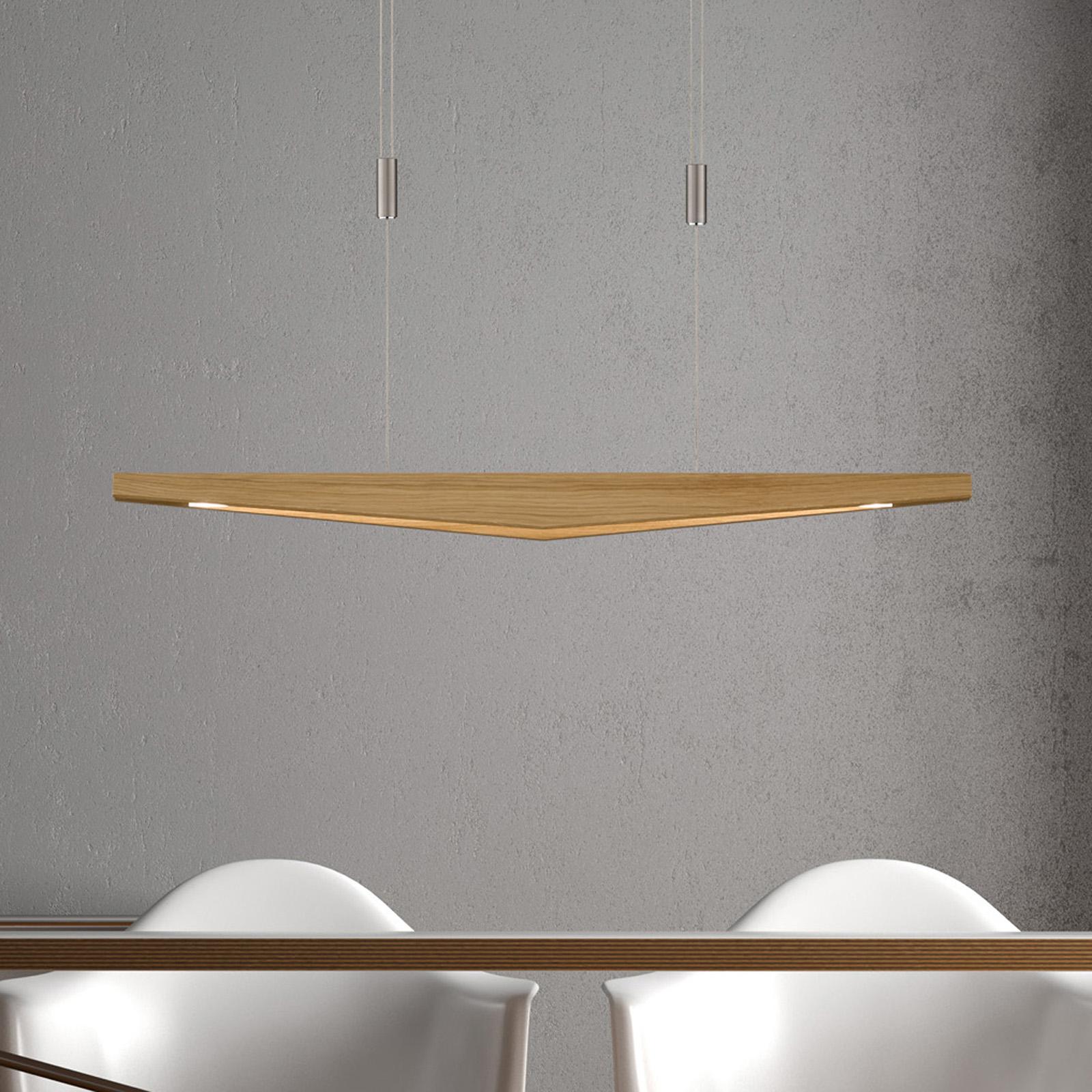 Lucande Dila LED-pendellampa ek natur 88 cm