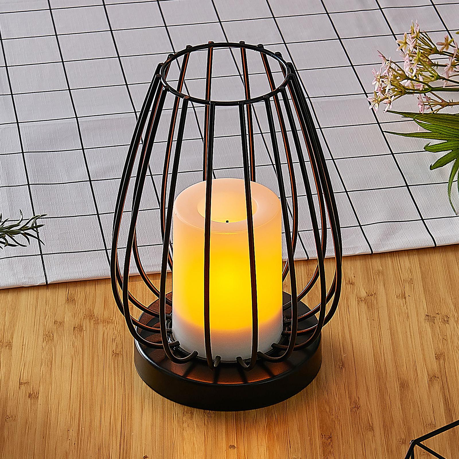 Lampada LED solare Hannika, luce ambra tremolante