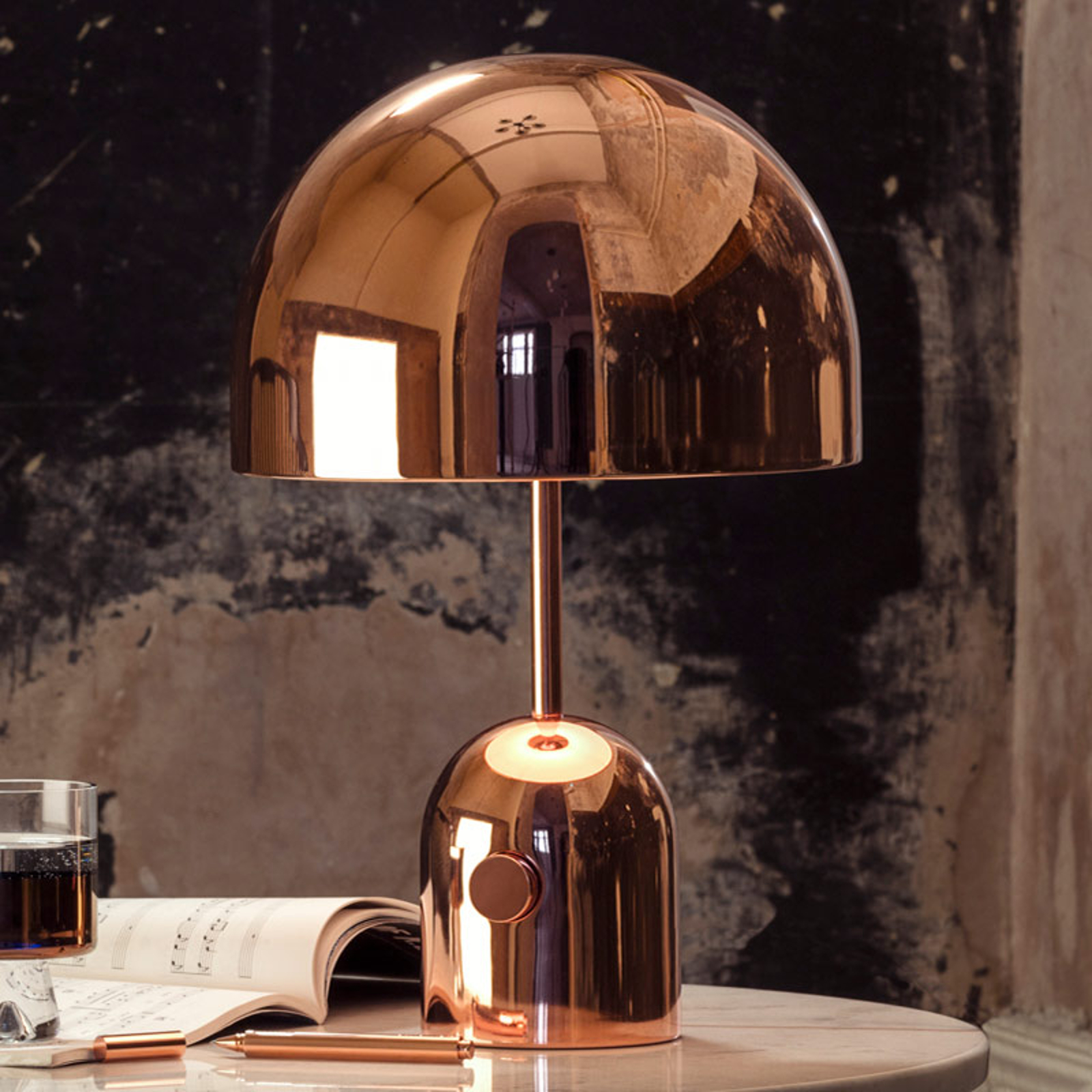 Tom Dixon Bell Table - Design-Tischleuchte, kupfer