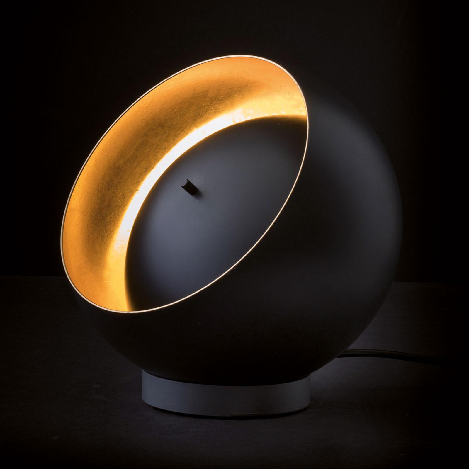 Oluce Eva LED-bordlampe i kugleform, sort