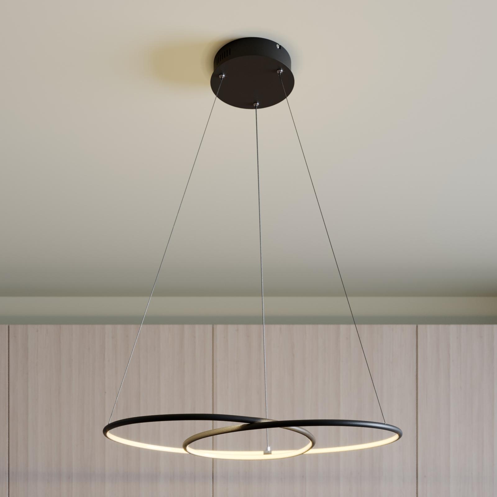 Lindby Lucy LED závěsné světlo, 70cm, černá matná