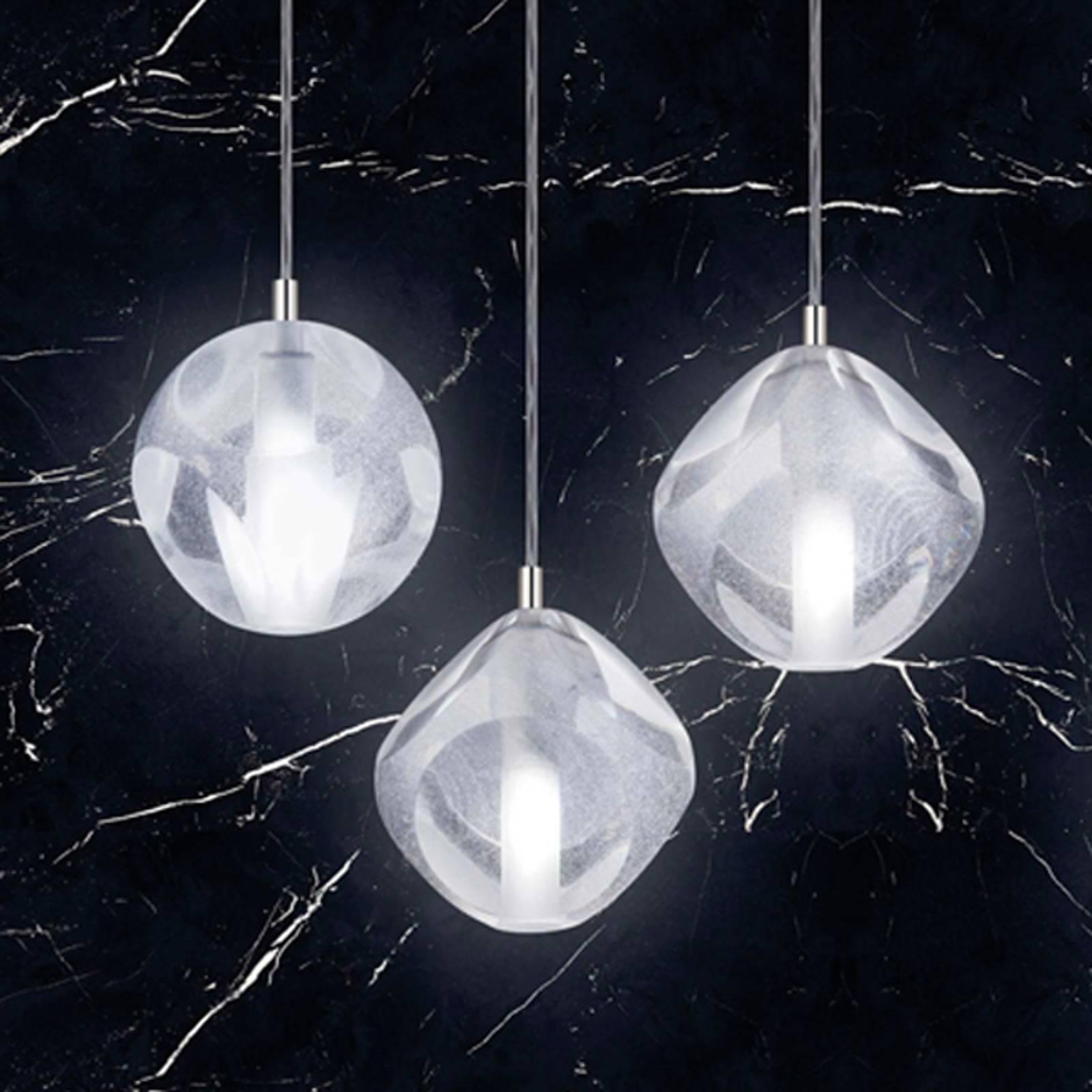 Hanglamp Glace van glas, 3-lamps