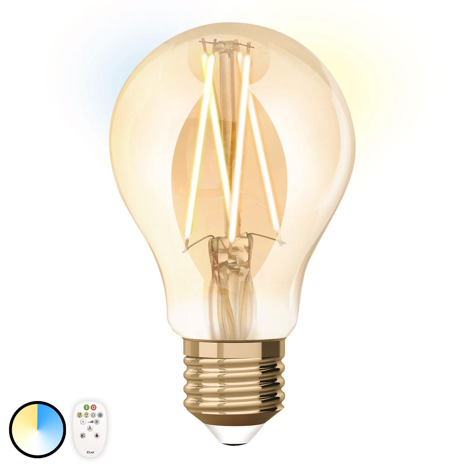 iDual LED-Filamentlampe E27 9W A60 Fernbedienung