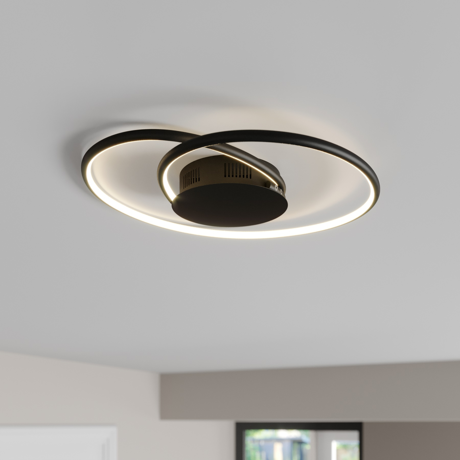 Lindby Joline LED-taklampe, svart, 45 cm