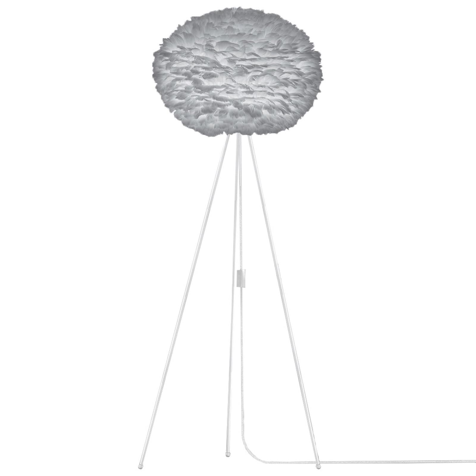 Gulvlampe Eos large med trebeinet lampefot - grå