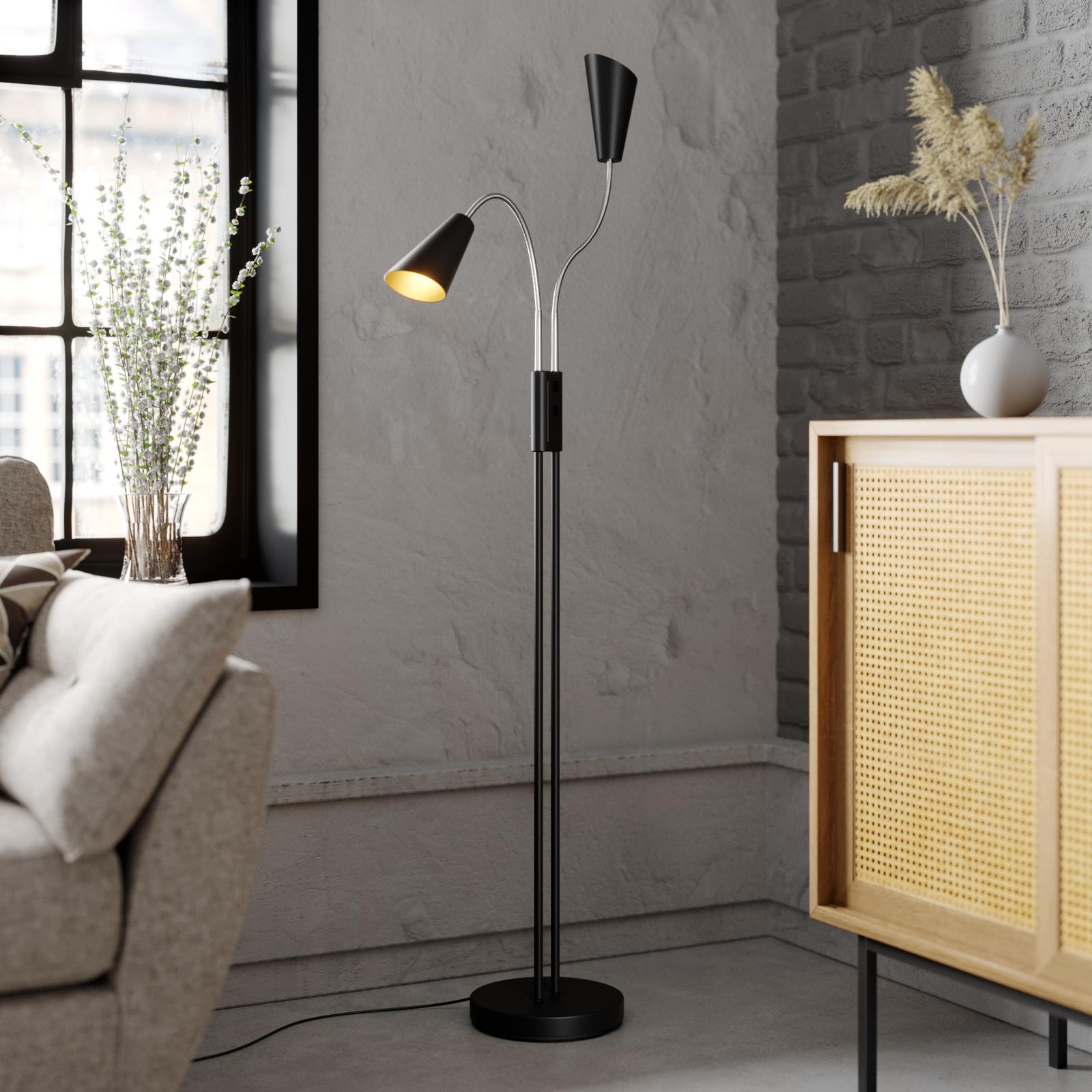 Lucande Medira gulvlampe, 2 lyskilder, svart