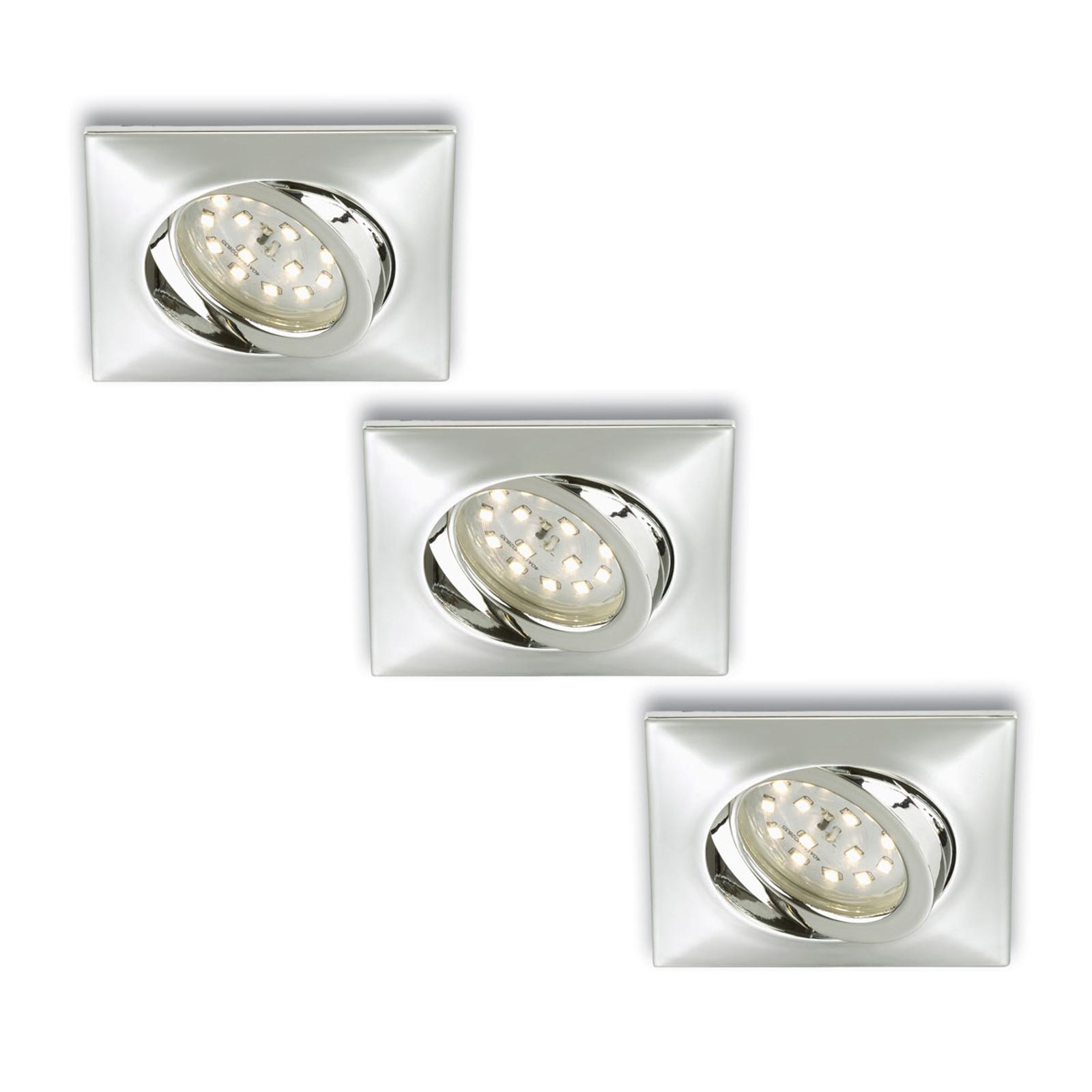 Set de 3 spots encastrés LED carrés Erik chromés