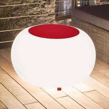 Bubble Outdoor bord, hvidt lys + rødt filt