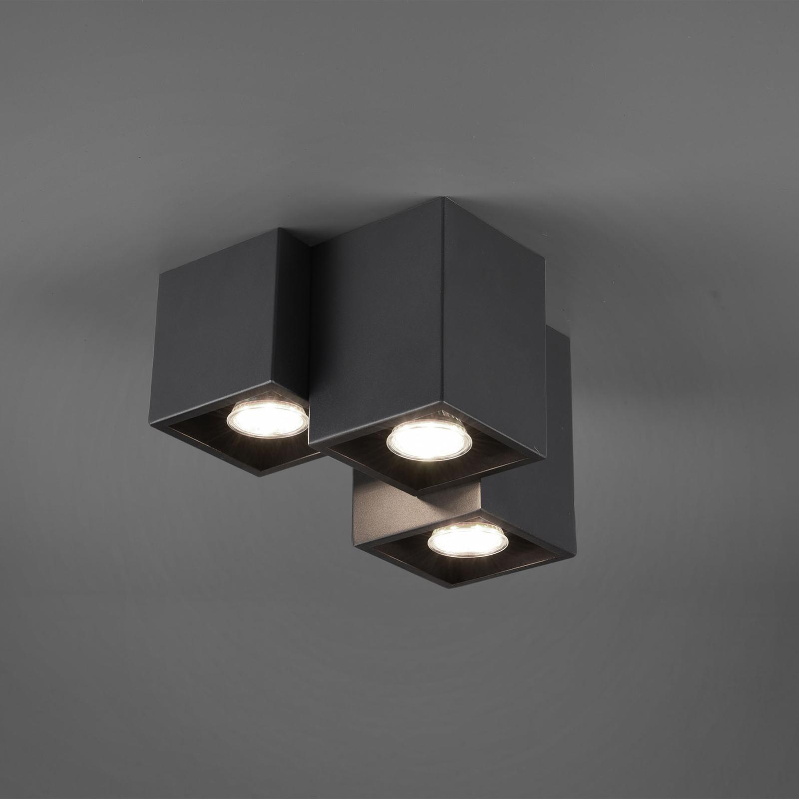 Plafonnier Fernando, 3 lampes, noir mat